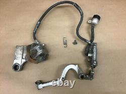 1986 Kawasaki KX250 OEM Rear Back Brake Master Cylinder Caliper Foot Lever Line
