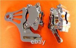 4 Spot Chrome Billet Brake Caliper Front Harley Softail Dyna Sportster