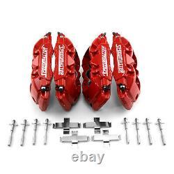 6 Piston Billet Caliper Front & Rear Kit Red Powdercoated