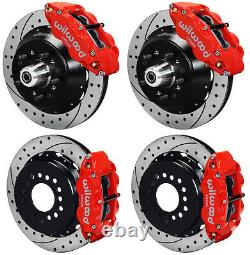 WILWOOD DISC BRAKE KIT, 64-74 GM, 14/13 DRILLED ROTORS, RED CALIPERS, With LINE KITS