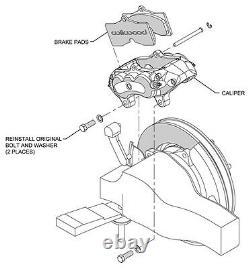 Wilwood Brake Caliper, Pad, & Line Kit, Front & Rear, 65-82 Corvette C2, Red
