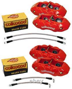 Wilwood Caliper, Pad, & Line Kit, 6 Piston Front, 4 Rear, 65-82 Corvette C-2, C-3, Red