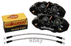 Wilwood Caliper, Pad, & Line Kit, Front, 65-82 Corvette C2, C3, Black, Chevy, New