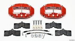 Wilwood Caliper, Pad, & Line Kit, Red, Front & Rear, 1965-1982 Corvette C2, C3