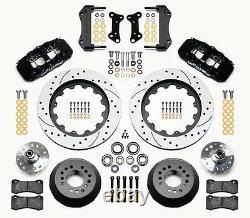 Wilwood Disc Brake Kit, 64-74 Gm, 15,13 Drilled Rotors, Black Calipers, Brake Line